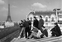 Francois Truffaut and crew on location.