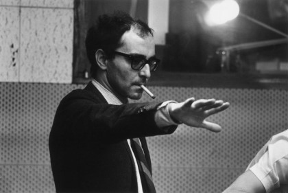 Jean-Luc Godard during the filming of 'Sympathy For the Devil' (aka 'One Plus One'), featuring the Rolling Stones.